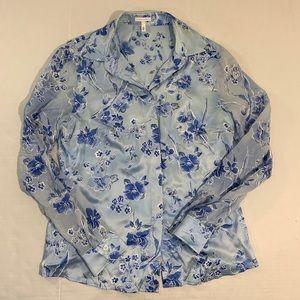 Escada Floral Sheer Sleeve Silk Blouse Top 40